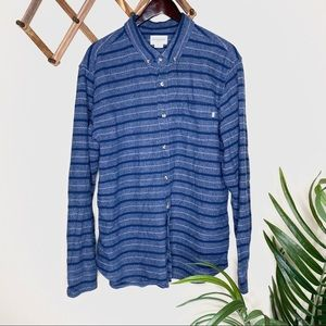 Obey Propaganda Blue Striped Button Down